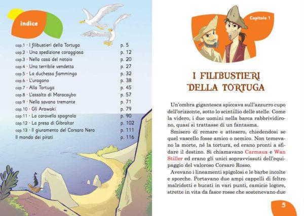 Il Corsaro Nero: indice dei capitoli. Narrativa per ragazzi.